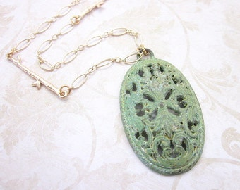 Filigree Oval Necklace -- Bamboo Necklace -- Gold & Lime Necklace -- Patina Pendant Necklace -- Green Oval Necklace -- Lime Necklace