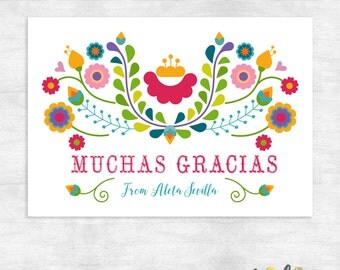 Fiesta Thank You cards / thank you note cards / gracias cards / printable file