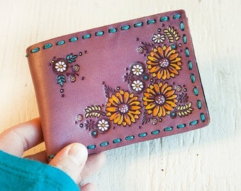Handmade Leather Wallet - Sunflower and Daisy Floral - Purple, Turquoise, Flowers - Mesa Dreams - Card Case Billfold - Made to Order