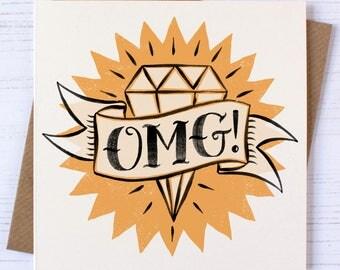 Engagement Card | OMG Card | Tattoo Card | Engaged Card | Engagement | Traditional Tattoo Card | Engagement Tattoo Card