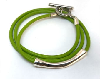 NEW!!! Apple Green Leather Wrap Bracelet, Stackable Bangle, Leather Connector Tube Bracelet, Layering Bracelet, Gift for Her, Bohemian Chic