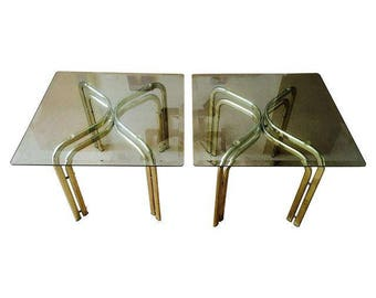 Brass and Glass Ends Tables - Glam Hollywood Regency Appeal