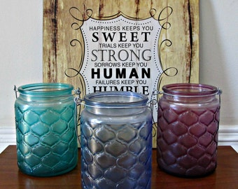 Glass Candle Holders - Set of 3 - Green, Blue and Purple - Quilted Texture with Metal Hangers