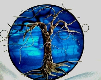 Tree of Life double sided metal overlay, Large Deep Turquoise Blue Stained Glass Tree of Life Suncatcher