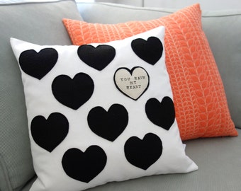 Black Heart - Pillow - Rustic - You Have My Heart - Valentines Day decor - Decorative Pillow - Valentine's Gift - Gift For Her