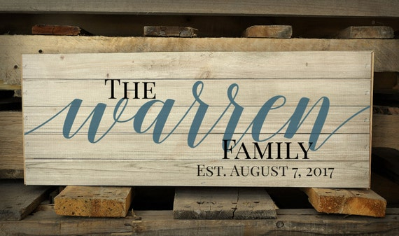 Personalized Family Name Pallet Box Sign Made with Rustic Wood Perfect for Sitting On a Shelf