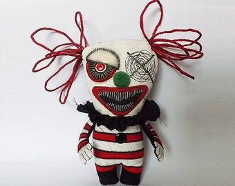 Creepy Clown Doll Soft Sculpture Art Gothic Circus Horror Doll