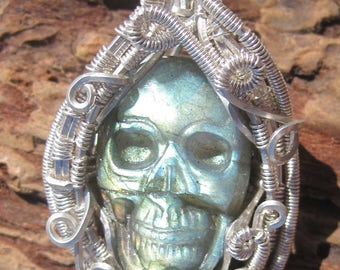 Rebirth/// Labradorite Skull and Sterling Silver Wire Wrap Pendant,  One of a Kind, Handmade, Heady, Art