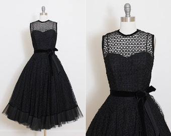 Vintage 50s Dress | vintage 1950s dress | black ribbon tulle party dress | xs | 5830