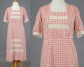 Edwardian Work Dress, Antique Red Gingham Dress, 1910s Cotton Dress, Edwardian Day Dress, Plus Size Dress XL