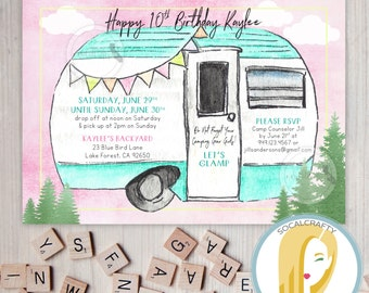 Glamping Birthday Party Invitation, Camping, Sleepover, Camp, RV Camper, Girls, Pink Aqua, DIY, Printed or Printable Invitations, Free Ship