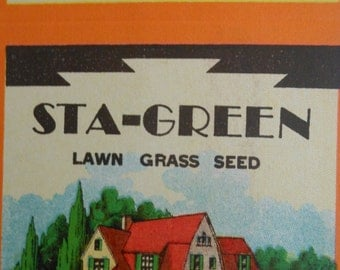 Vintage Sta-Green lawn grass seed NOS seed boxes - set of ten