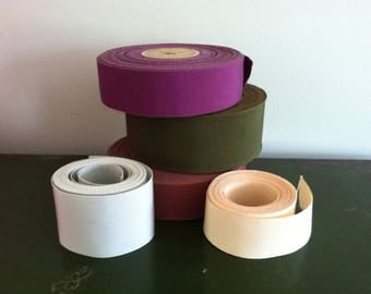 Lot of vintage Petersham/grosgrain millinery ribbon rolls and yardage, new, old stock