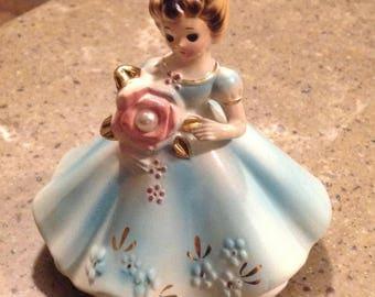 Adorable Vintage Josef Originals June Birthday Pearl Rhinestone Girl Figurine with Tag Labels