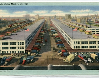 South Water Street Market Chicago Illinois 1940s postcard