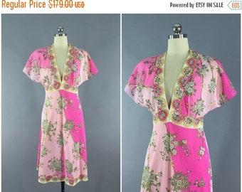 SALE - Vintage 1960s Emilio Pucci Nightgown Slip Dress / 60s Lingerie / Mod Pink Floral