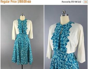 SALE - Vintage 1950s Dress and Cardigan Sweater Set / 50s Blue Floral Print Sundress / 1950 Day Dress / Mid-Century Mad Men / Size Medium M