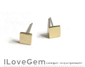 NP-1871 Gold plated, Tiny Square, Geometric stud Earrings, 925 sterling silver post, 2pcs
