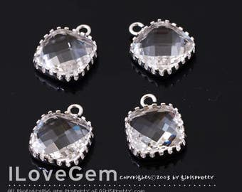 SALE/ 10pcs / NP-1897 Rhodium, Clear, 9mm Glass Square, Framed Glass charm, Faceted Glass Pendant