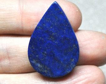 Natural Lapis Lazuli Flat Tear Drop Cabochon, Semi Precious Gemstone, Jewelry Supply - 31.8 x 21.4 x 5.6 mm - 37.7 ct - 161209-04