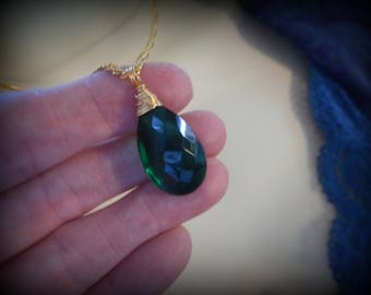 Emerald Green Necklace w/ Gold Wire Wrap / Birthstone for May / Witches of East End