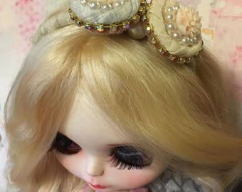 Blythe headband pink with vintage white fabric rosettes rhinestones and pearls