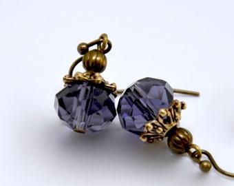 Purple Crystal Earrings, Dark Purple Earrings, Antique Brass Purple Drop Earrings, Purple Glass Earrings, Elegant Earrings, Bridesmaid Gift