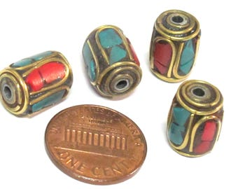 4 Beads - Tibetan brass beads thick cylinder tube shape with turquoise coral inlay from Nepal  - BD953