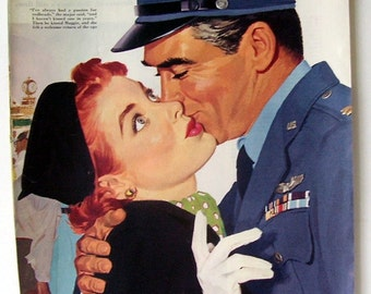1955 Air Force Gent Kissing Lady, 1955 Magazine Print Page, Red Headed Lady, The Wife Who Had Everything, Illustrated by Paul C. Burns
