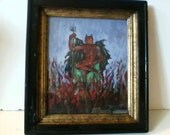 Antique Nude Devil Lucifer Painting by Bouraine 1936