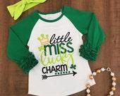 "Little Miss Lucky Charm"" Green Ruffle Sleeve T-Shirt Free Shipping"