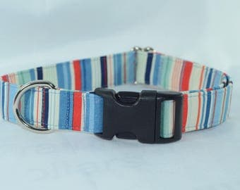 Nautical Stripes Buckle Collar - Large - Ready to Ship