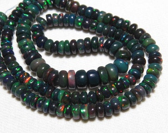 Black Welo Ethiopian Opal - 16 Inches Long  strand - Gorgeous Quality  full Color Full Fire smooth Polished Rondelle Beads size - 4 - 6.5 mm