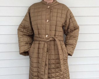 Halston Quilted Coat Gold Long Puffy 70s Vintage Winter Jacket M S