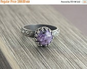 ValentineSale Charoite Bezel Ring, Charoite Stacking Ring, Chariote Ring