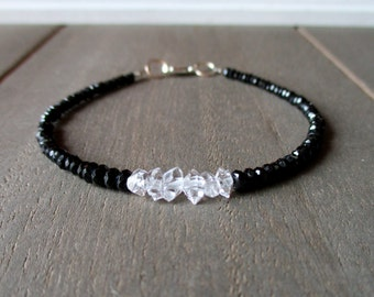 Black Spinel, Herkimer Diamond Quartz Bracelet, Beaded Jewelry, Gemstone Stacking Bracelet, Jewelry, Jewellery