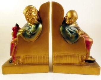 Armor Bronze Old Couple Man & Woman in Chair Looking at Each Other Bookends