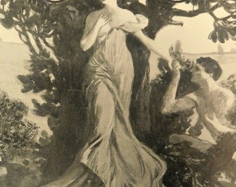 Antique Sheet Music with beautiful cover art Frameable Art Lady in Gown Tree and Garden Art to Frame