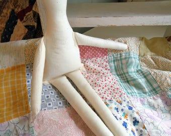 """1 Primitive 14"""" Muslin cloth rag Doll Body -form-craft doll supply"""