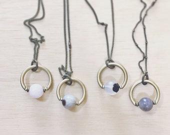 CIVAL Collective - Hazel   Pendant   Mod Jewelry Designs   Geometric Quartz Necklace   Circle   Easy Gift   Natural Stone