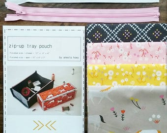 Zip Up Tray Pouch + Stay Gold Fat Quarter Bundle with Zipper Kit - Custom Bundle Kit - Pattern and Fabrics by Aneela Hoey