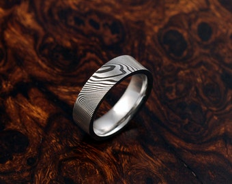 Genuine stainless Damascus Steel Mens Ring PD96
