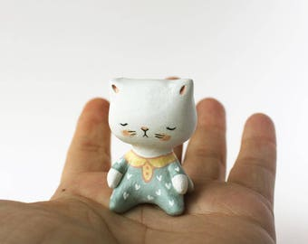 Cat totem -  Animal figurine  -  Sleeping kitten in pyjamas - woodland creature art