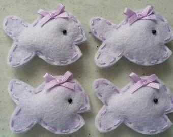 4 Handmade Felt Felties Puffy Goldfish Cracker Appliques-Lavender