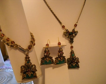 Redesigned Vintage Necklace Bracelet & Earring SET Art Nouveau Green Purple Rhinestones FREE SHIPPING