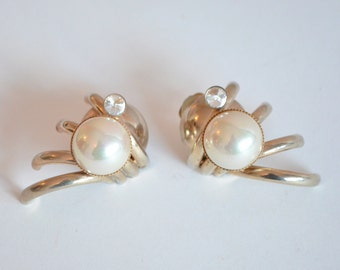 Vintage 1980s STATEMENT pearl clipons