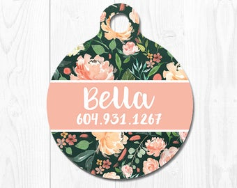 Personalized Dog Tag Dog Name Tag Dog Tags for Dogs Pet ID Tag Pet Tags Cat ID Tag Pet Gift Cat Tag Custom Pet id Tag Peach Dog Tags