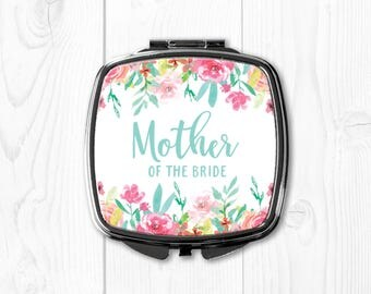 Mother of the Bride Gift from Bride Mint Floral Personalized Compact Mirror Mother of the Bride Wedding Gift for Mom Wedding Gift Ideas