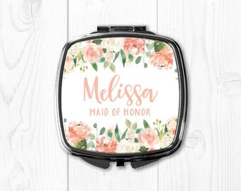 Peach Maid of Honor Gift Sister Wedding Gift for Maid of Honor Personalized Compact Mirror Maid of Honor Gift Purse Mirror Floral Cream
