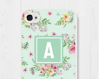 Monogrammed Phone Case Floral iPhone 7 Case iPhone 7 Phone Case Mint iPhone 6 Case Floral iPhone SE Case Floral Samsung Galaxy S7 Case
